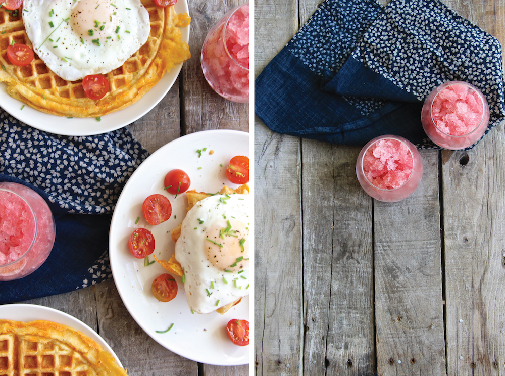 Boozy Brunch: Cheddar Cornbread Waffles + Blood Orange Champagne Granita // The Shared Sip