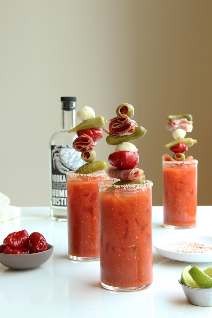Harissa Bloody Mary with Antipasti Kebabs // The Shared Sip